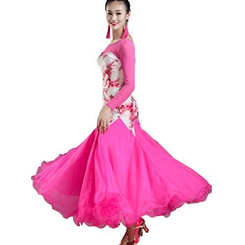 Wqwlf S Rete Per Moderno Sala Vestito Dancewear performance xxl Competizione Rose Ballo Ballo Stampa Da Calzamaglia Manicotto Valzer Costume A tulle Donne rwrHqa
