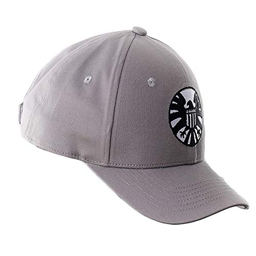 b117c6923 Gankchen Captain Marvel Hat Cosplay Shield Logo Hats Size Adjustable Cap  Carol Danvers Baseball Caps Gray