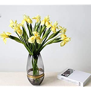 Skyseen 6Pcs Artificial Silk Flower Bridal Real Touch Iris Flower for Wedding Party Banquet Home Decoration Yellow 68