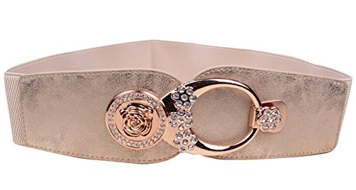 E-Clover Women's Rose Rhinestone Buckle 6CM Dress Stretch Cinch Waist Belt (High Waisted Buckle)