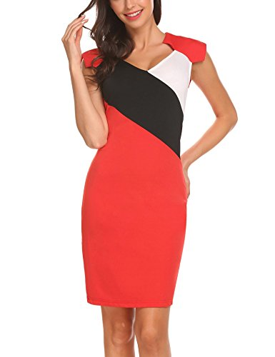 n Cap Sleeve Voguish Colorblock Stripe Cocktail Party Pencil Dress Red M (Ladies Raglan Cap)