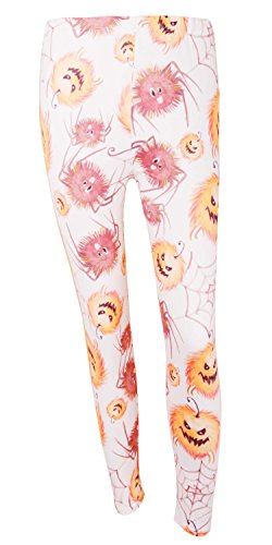 DREAGAL Pumpkin And Spider Web Cartoon Print Leggings