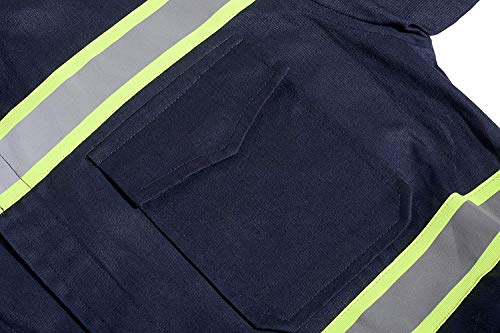 Men's High Visibility Work Coverall Reflective Safety Workwear Long Sleeve (XL, Navy) by XinAndy (Image #4)