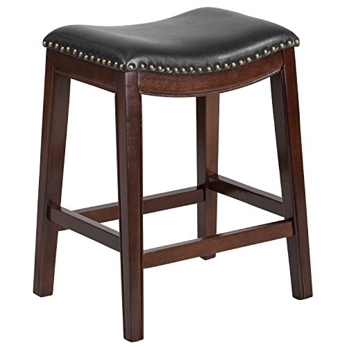Flash Furniture 26'' High Backless Cappuccino Wood Counter Height Stool with Black Leather Seat Cappuccino Finish Wood Feet