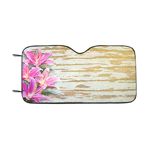 (InterestPrint Pink Lily Flowers on Wooden Background Car Windshield Sun Shade, UV Rays Sun Visor Protector Foldable Sunshade, 55 x 29.5 Inch)