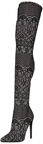 Steve Madden Women's Tiffy Fashion Boot, Black Lace, 7.5 M US by Steve Madden