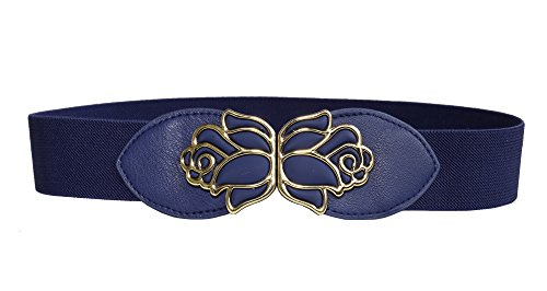 "Modeway Women's 1.5"" Wide Rose Buckle Elastic Stretch Glitter Cinch Waist Belts (L-XL(30""-33""), Navy)"