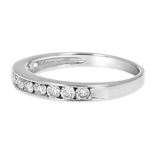 AGS Certified I1-I2 1/2 ctw Classic Diamond Wedding Band 14K White Gold Size 4.5 by Vir Jewels (Image #1)