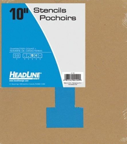 Headline Sign 109 Stencil Set, 10-Inch Numbers 0-9 by Headline