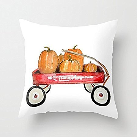 18 x 18 inches Red Wagon Watercolor Home Decorative Halloween Throw Pillow Cover Square Happy Fall Cushion Cover for Sofa