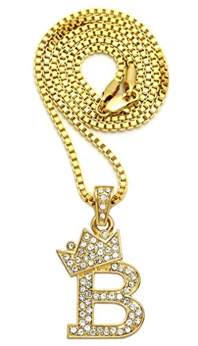Crown Iced Out Small Initial Alphabet Letter Pendant with 2mm 16