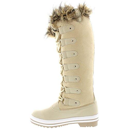Piel Bota Mujer Zapato Rodilla Manguito Altura Suede Caucho La Polar Beige De Cordones RpHqTwtUt