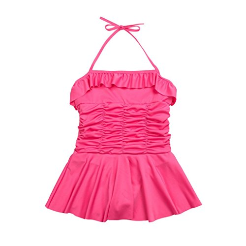 Goodlock Toddler Kids Fashion Swimsuit Girl Strap Dress Playsuit Swimwear Ruched Swimsuit Bathing Beach Clothes (Hot (T-bags Print Halter Tie Dress)
