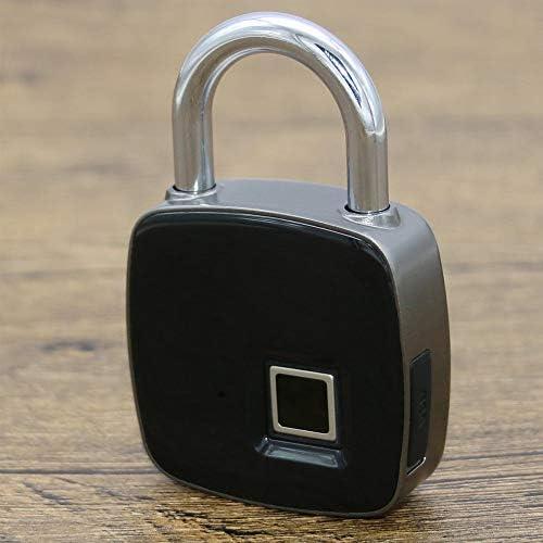 電子ドアロック スマート指紋ロックキーレスブルートゥースAPP南京錠ドアロック防水旅行荷物ロック 電子錠 (Color : Black, Size : One size)