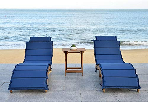 Safavieh 3 Piece Outdoor Collection Pacifica Lounge Set, Teak Brown Navy