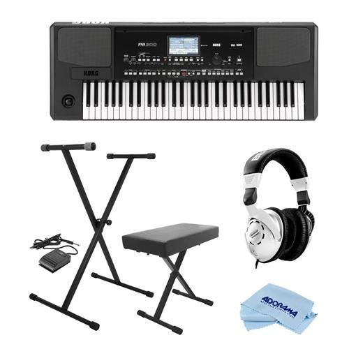 Korg PA300 61 Keys Professional Arranger, 950+ Sounds, USB-MIDI Interface, Bundle With On-Stage KPK6520 Keyboard Stand/Bench Pack with Sustain Pedal, Behringer HPS3000 HP Studio Headphones, Cloth by Korg