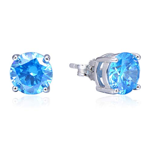 Sterling Silver December Birthstone Earrings | 8mm Blue Zircon Earring Stud Ear Studs Anniversary Birthday Mother's Gift -