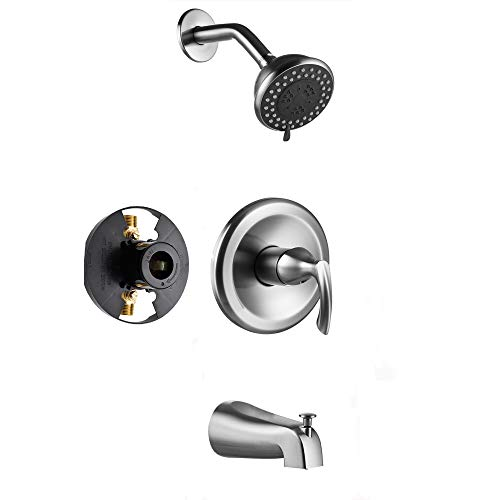 Gabrylly Shower Faucet, Single-Function Tub and Shower Faucet Set with 4-Inch Spray Shower Head and Tub Spout, Brushed Nickel (Rough in Valve Included)