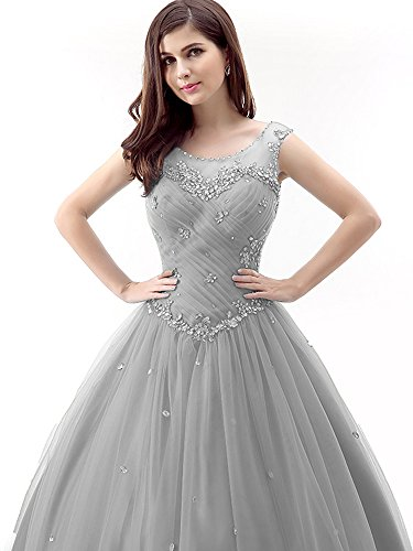 6faecda4458 Okaybrial Women s Vestidos DE 15 Anos Quinceanera Tulle Pleated Beaded  Sleeveless Formal Evening Gowns