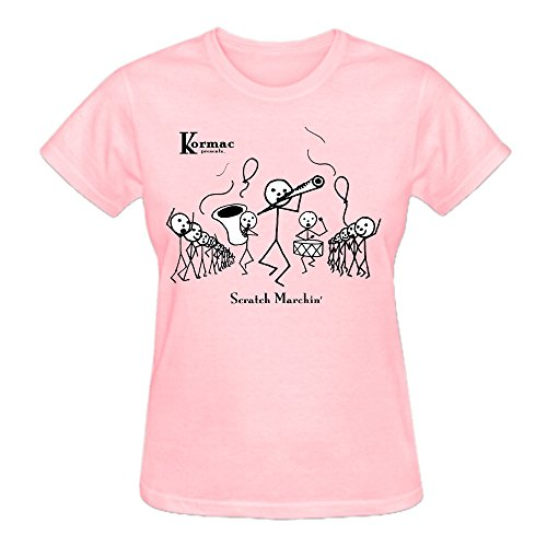 Kormac Scratch Marchin Pure Cotton Graphic T Shirts For Women Crew Neck Pink