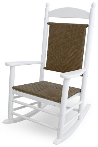 Polywood Jefferson Rocking Chair - POLYWOOD K147FWHTW Jefferson Woven Rocker, White/Tigerwood
