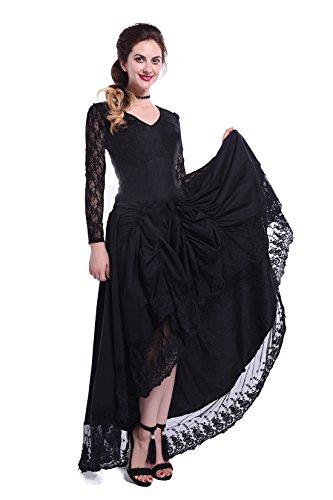 Renaissance Style Dress (Women Pinnacle Black Gothic Vintage Floral Lace Sleeves Asymmetric Dress(M))