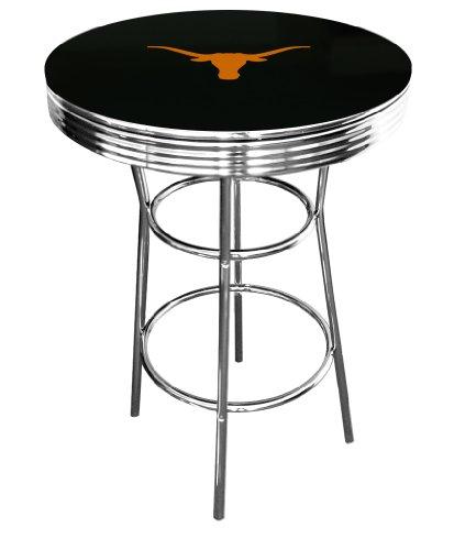 Chrome Longhorn Bars - New Black Bar Table Features a Chrome Metal Finish with a Texas Longhorns Theme