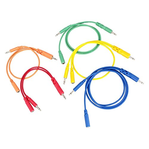Hosa CMM-500Y-MIX Hopscotch Patch Cables, 3.5 mm TS with 3.5 mm TSF Pigtail to 3.5 mm TS, 5 pc, Various Lengths by Hosa