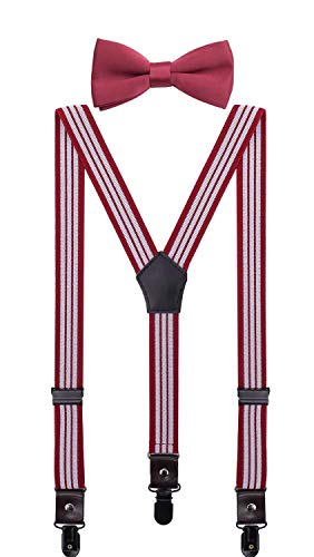 - CEAJOO Big Kids Suspenders and Bow Tie Set Adjustable with Black Metal Clips 40