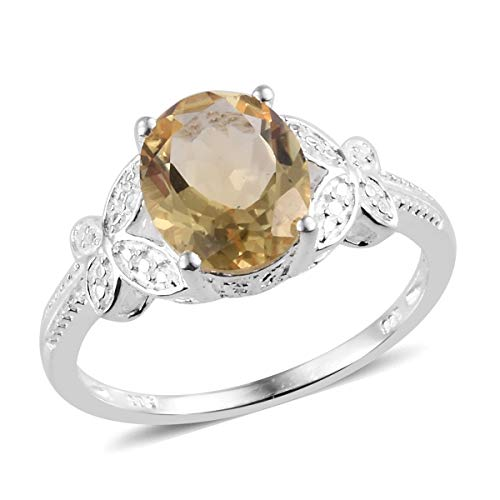 925 Sterling Silver Oval Citrine Solitaire Ring for Women Jewelry Gift Size 8 Cttw ()