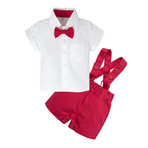 BIG ELEPHANT Baby Boys'2 Piece T-Shirt Suspender Shorts Clothing Set NA42 Red -