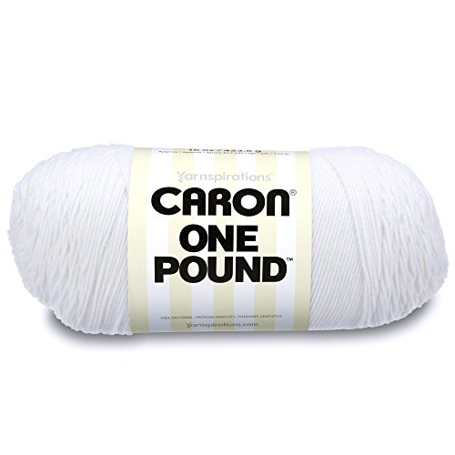 - Caron  One Pound Solids Yarn - (4) Medium Gauge 100% Acrylic - 16 oz -  White -   For Crochet, Knitting & Crafting