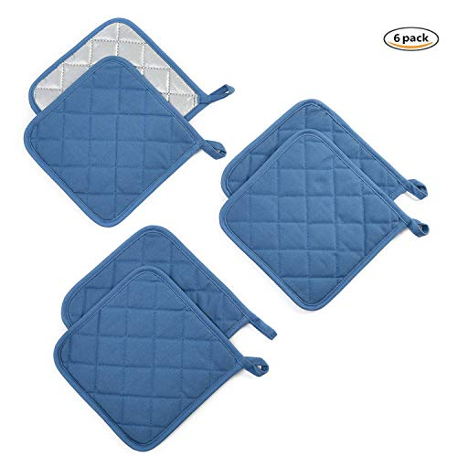 Jennice House Potholders Set Trivets Kitchen Heat Resistant Pure Cotton Coasters Hot Pads Pot Holders Set of 6 for Everyday Cooking and Baking by 7 x 7 Inch (Blue)