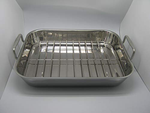 Gourmet Catalog Product 18'' Tri-Ply Stainless Steel Roasting Pan and Rack With Handles by Gourmet Catalog Product (Image #3)