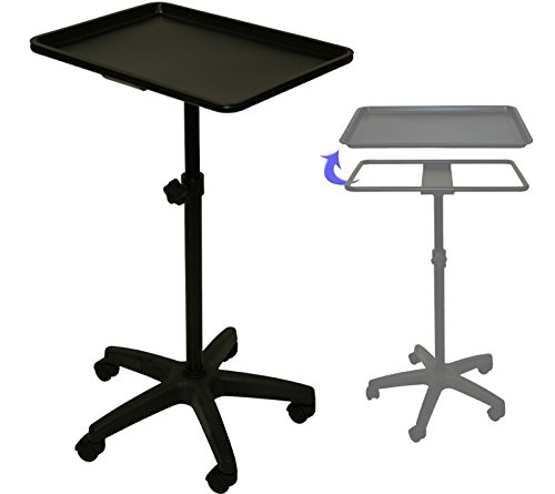 LCL Beauty Extra Large Black Steel Single-Post Mayo Instrument Stand & Work Tray Spa Salon Equipment