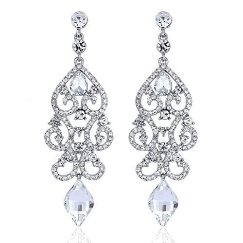 - Janefashions Large Sexy Austrian Crystal Rhinestone Chandelier Dangle Earrings Bridal E2084 Blue or White (White)