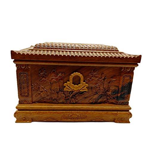 Boyishengshi Urna para Mascotas Caja de pera Tallada urna de Madera para Mascotas ataúd para Perros Cementerio 34 * 23 * 23...