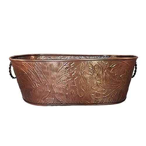Wine Cooler Oval - Horse Trough Planters Ice Tub Wine Chiller or Beer Bucket for Drinks or Planter Large Oval Beverage Party Tub Cooler Is Made of Durable Copper Metal with a Leaf Pattern Relief with Handles 21 x 12x 8
