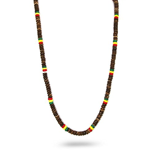 (JewelryVolt Unisex Hand-crafted Brown Coco Bead Long Necklace Rainbow Color 32)