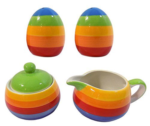RAINBOW STRIPE HAND PAINTED MILK JUG SUGAR BOWL SALT & PEPPER CRUET (Jug Salt)