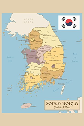 Republic of Korea or South Korea Vintage Political Map with Flag Art Print Poster 12x18 inch