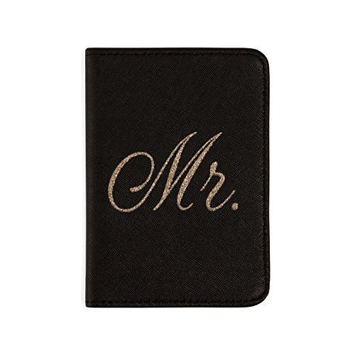 Mirror Mirror Passport Wallets Travel Holder Set: Mr. & Mrs. Slim Waterproof Passport Case Covers & Organizer Slots for ID, Money & Credit Card - Black & Rose Gold by Mirror Mirror (Image #1)
