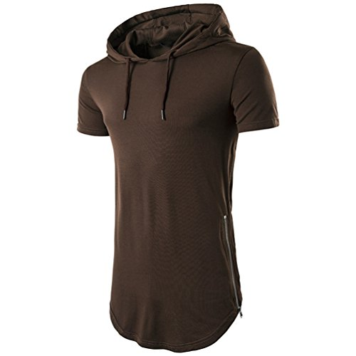 Fit Chengyang Longue Capuche Café Shirt Manche Section shirt Tee Courte À Homme T Slim TqxTHw8p