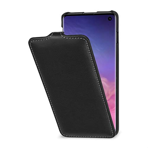 StilGut Leather Case Compatible with Galaxy S10 Vertical Flip Case, Black -
