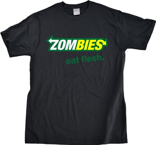 ZOMBIES: EAT FLESH Adult Unisex T-shirt / Funny Subway Spoof Zombie Fan Tee