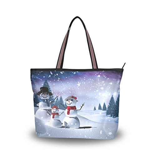 (JSTEL Women Large Tote Top Handle Shoulder Bags Christmas Snowman Tree Patern Ladies)