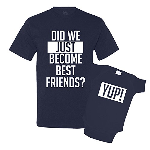 Did We Just Become Best Friends Dad and Baby Matching Shirt Set Navy