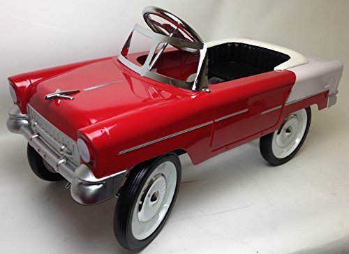 55 Classic Pedal Car in Red and White. All Steel with Black Padded Seat