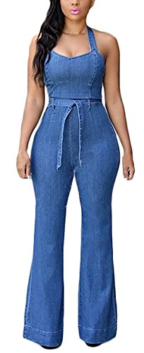 Tuta Backless Collo Skinny Donna Jeans Chic Cute Elegante Pantaloni Jumpsuit Blu Halter Lunghi Smanicato Tutine Mieuid qB7w5B