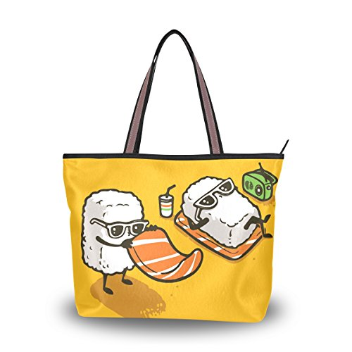 Women's Designer Handbags Fashion Big Canvas Washable Tote Bags Shoulder Bag Top-handle Bag with Creative Sushi On The Beach for Shopping Travel - Hut Long Beach Sunglass